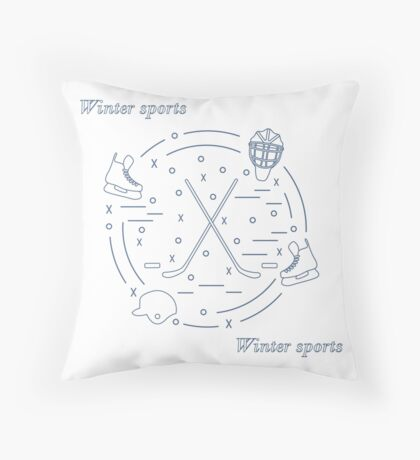 Vector illustration of various subjects for hockey arranged in a circle. Including icons of helmet, skates, goalkeeper mask, stick, puck.  Throw Pillow