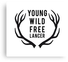 young, wild, freelancer with deer antlers Canvas Print