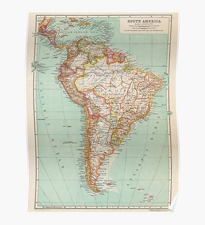 South America Antique Maps Poster