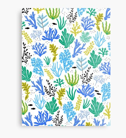 Marine life, seaweed illustration Metal Print