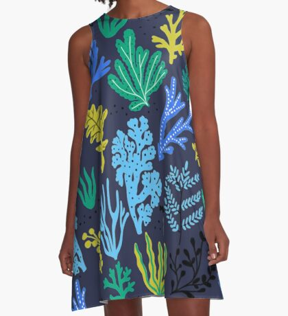 Marine life, seaweed illustration A-Line Dress