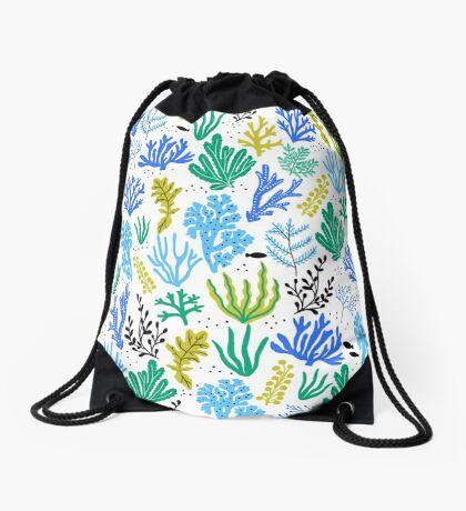 Marine life, seaweed illustration Drawstring Bag