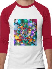 Rainbow Spiral Beads Men's Baseball ¾ T-Shirt
