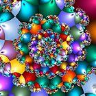 Rainbow Spiral Beads by wolfepaw