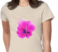 Watercolor pink hibiscus Womens Fitted T-Shirt