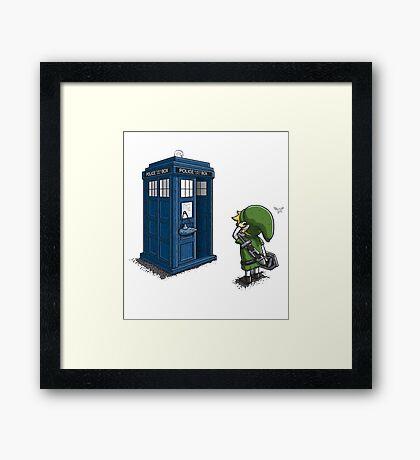 The Legend of Zelda & Doctor Who - Link (Tardis) Framed Print