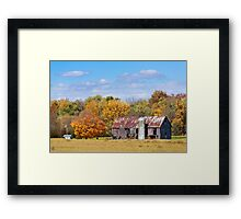 Old Barn with Silo in Autumn Framed Print