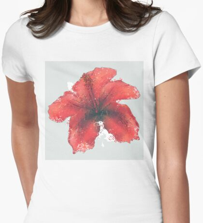 Watercolor red hibiscus Womens Fitted T-Shirt