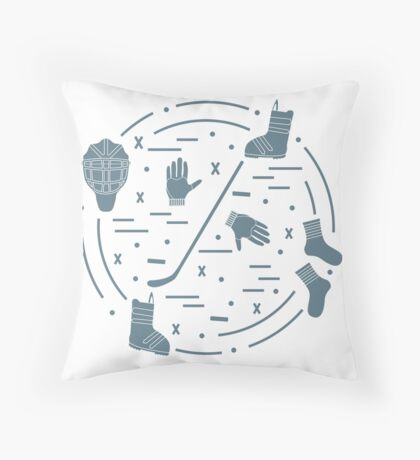 Vector illustration of various subjects for hockey and snowboarding arranged. Including icons of helmet, gloves, hockey stick, puck, socks, snowboard boots. Throw Pillow