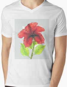 Watercolor red hibiscus 2 Mens V-Neck T-Shirt