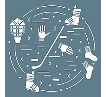 Vector illustration of various subjects for hockey and snowboarding arranged. Including icons of helmet, gloves, hockey stick, puck, socks, snowboard boots. Photographic Print