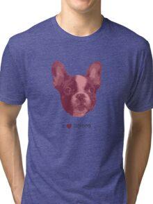 I love my dog - French Bulldog (Pink) Tri-blend T-Shirt