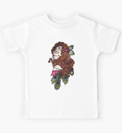 girl with peacock feathers Kids Tee
