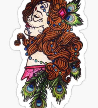 girl with peacock feathers Sticker