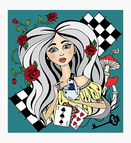 alice with a White rabbit Photographic Print
