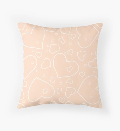 Peach / Apricot and White Hand Drawn Hearts Pattern Throw Pillow