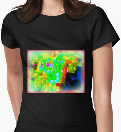 MISTY BLOSSOM VIVID HUE Womens Fitted T-Shirt