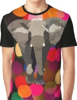 Elephant with Christmas Lights Graphic T-Shirt