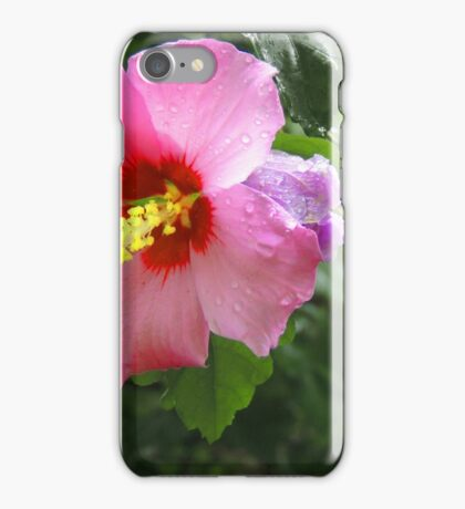 Pink flower with dew drops iPhone Case/Skin