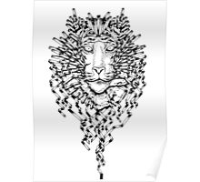 Origami Lines Tiger Black and White Poster