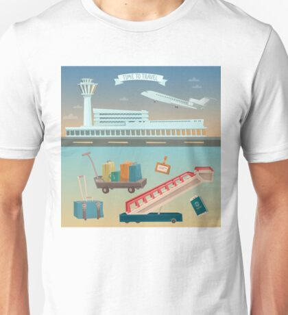 Time to Travel by Airplane. Airport with Plane and Different Travel Elements Unisex T-Shirt