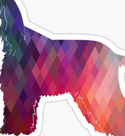 Afghan Hound Geometric Dog Breed Silhouette - Pink Sticker