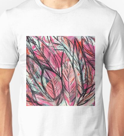 Disco Leaves Charcoal and Pastel Drawing Unisex T-Shirt