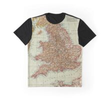 England and Wales Antique Maps Graphic T-Shirt