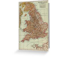England and Wales Antique Maps Greeting Card