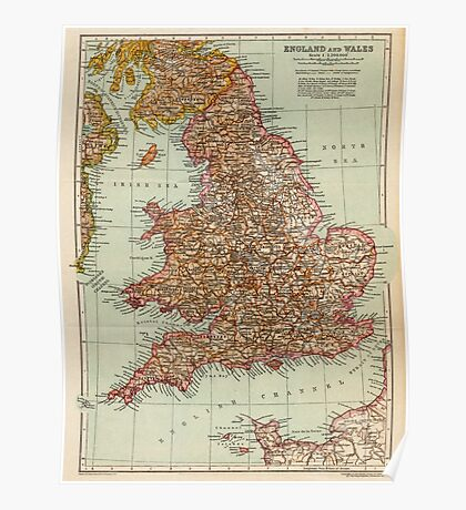England and Wales Antique Maps Poster