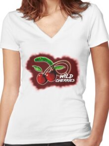 Wild Cherries Women's Fitted V-Neck T-Shirt