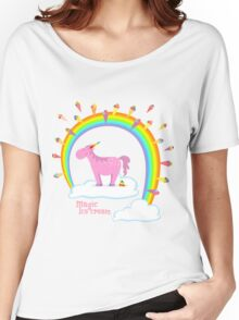 Magical unicorn creates ice cream Women's Relaxed Fit T-Shirt