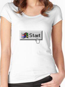 """Vaporwave/Windows 95 Aesthetic """"Start"""" Design Women's Fitted Scoop T-Shirt"""