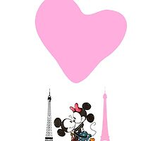 Mickey Mouse And Minnie Love In Paris  by zeeshanahmad88