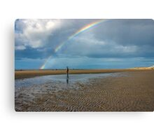 Rainbow at Crosby Beach Canvas Print