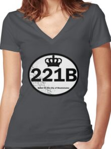 221B Baker St. Women's Fitted V-Neck T-Shirt
