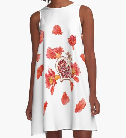 The petals and flowers of pomegranet. Heart. A-Line Dress