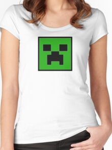 Minecraft Creeper Face Women's Fitted Scoop T-Shirt