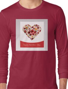 Happy Valentine's Day Greeting Card with Heart of Flowers Long Sleeve T-Shirt