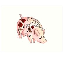Tattoo Pig Art Print