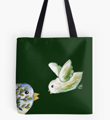 Baby bird and mom or dad drawing Tote Bag