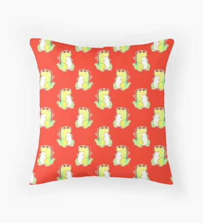 Watercolor Flower Crown Dinosaur Pattern Throw Pillow