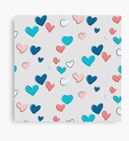 Blue orange heart Canvas Print