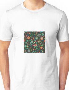 Scattered Flowers dark background Unisex T-Shirt