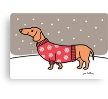 Christmas Dachshund in the Snow Canvas Print