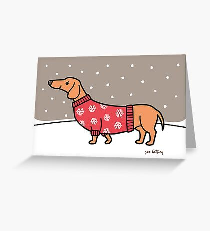Christmas Dachshund in the Snow Greeting Card