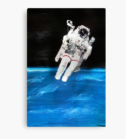 Astronaut in Space with Blue Earth (Acrylic Painting) Canvas Print