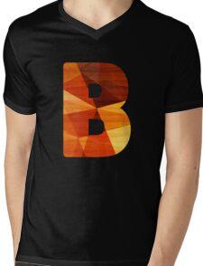 Letter B -Wooden Initial Mens V-Neck T-Shirt