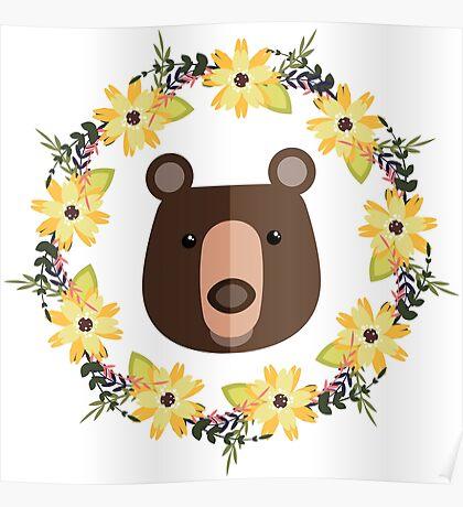 Bear&Flowers Poster