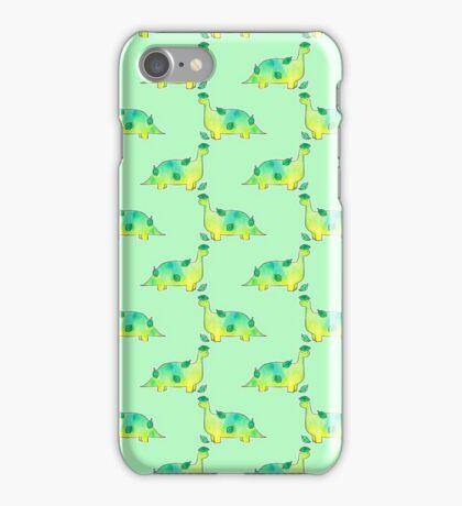 Watercolor Leaf Dino Pattern iPhone Case/Skin
